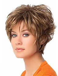 cheap -Synthetic Wig Wavy Wavy Pixie Cut With Bangs Wig Blonde Short Blonde Synthetic Hair Women's Blonde