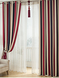 cheap -Blackout Curtains Drapes Two Panels Bedroom Stripe Polyester Print & Jacquard