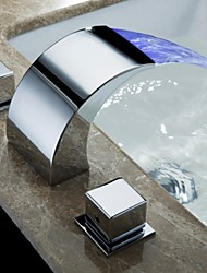 cheap -Bathroom Sink Faucet - Waterfall Chrome Deck Mounted Three Holes / Two Handles Three HolesBath Taps