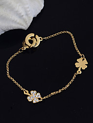 cheap -Women's Charm Bracelet Love Ladies Stainless Steel Bracelet Jewelry Silver / Golden For Party Daily Casual / Rhinestone
