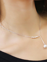 cheap -Women's Pearl Choker Necklace Y Necklace Lariat Dainty Ladies Delicate Pearl Imitation Pearl Alloy Golden Silver Necklace Jewelry For Wedding Party Daily Casual / Pearl Necklace