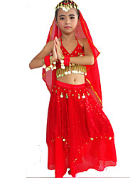 cheap -Belly Dance Outfits Performance Polyester / Spandex Beading / Gold Coin / Paillette Skirt / Bra / Headwear