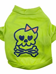 cheap -Cat Dog Shirt / T-Shirt Dog Clothes Green Costume Cotton Skull Halloween XS S M L
