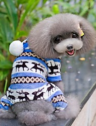 cheap -Dog Jumpsuit Pajamas Winter Dog Clothes Brown Red Blue Costume Polar Fleece Snowflake Casual / Daily XS S M L XL XXL