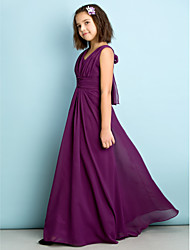 cheap -A-Line V Neck Floor Length Chiffon Junior Bridesmaid Dress with Criss Cross / Natural / Mini Me
