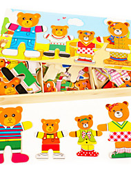 cheap -Jigsaw Puzzles 3D Puzzles / Wooden Puzzles Building Blocks DIY Toys Wood Red / Blue / Yellow / Green Puzzle Toy