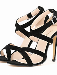 cheap -Women's Cross-Strap Sandals Stiletto Heel Fabric Summer / Fall Black / Nude / White / Party & Evening