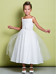 cheap -A-Line Tea Length Flower Girl Dress - Tulle Sleeveless Spaghetti Strap with Ruched / Flower / First Communion