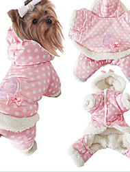 cheap -Dog Coat Hoodie Pajamas Dog Clothes Polka Dot Pink Cotton Costume For Spring &  Fall Winter Women's Keep Warm