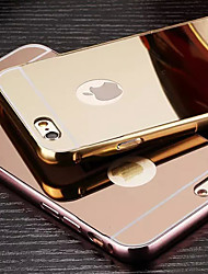 cheap -Case For Apple Plating / Mirror Back Cover Solid Colored Hard Metal
