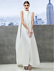 cheap -Sheath / Column Celebrity Style Minimalist Prom Formal Evening Dress Bateau Neck Boat Neck Sleeveless Ankle Length Chiffon with Pleats 2021