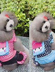 cheap -Dog Coat Jumpsuit Winter Dog Clothes Blue Rose Costume Cotton Polka Dot Casual / Daily S M L XL XXL