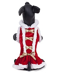 cheap -Cat Dog Dress Dog Clothes Red Polar Fleece Costume For Winter Cosplay Wedding