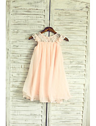 cheap -A-Line Tea Length Flower Girl Dress - Chiffon / Lace Sleeveless Jewel Neck with Lace / Pleats by LAN TING Express