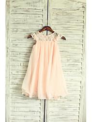 cheap -A-Line Tea Length Holiday Flower Girl Dresses - Chiffon / Lace Sleeveless Jewel Neck with Lace / Pleats