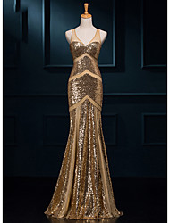 cheap -Mermaid / Trumpet V Neck Floor Length Sequined Sparkle & Shine Formal Evening Dress 2020 with Sequin