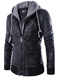 cheap -Men's Daily Punk & Gothic Fall / Winter Regular Jacket, Solid Colored Hooded Long Sleeve Faux Leather Black / Slim