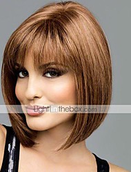 cheap -Human Hair Wig Short Straight Bob Short Hairstyles 2020 With Bangs Straight Short Middle Part Capless Women's Light Auburn Medium Brown / Light Blonde Beige Blonde / Bleached Blonde