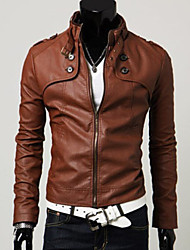 cheap -Men's Weekend Spring / Fall / Winter Regular Jacket, Solid Colored Stand Long Sleeve Faux Fur / Faux Leather Black / Brown / Light Brown / Slim