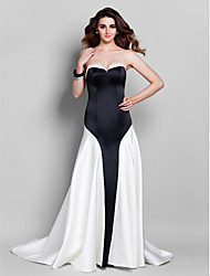 cheap -A-Line Elegant Formal Evening Black Tie Gala Dress Sweetheart Neckline Sleeveless Court Train Satin with 2021