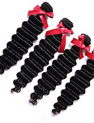 cheap -3 Bundles Brazilian Hair Deep Wave Natural Color Hair Weaves / Hair Bulk Human Hair Weaves Human Hair Extensions / 8A