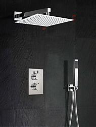 cheap -12'' Modern Rainfall Waterfall Chrome Shower Faucet Thermostatic Valve W/ Hand Shower