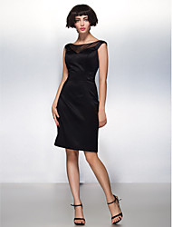 cheap -Sheath / Column Little Black Dress Cocktail Party Dress Illusion Neck Sleeveless Knee Length Satin with Pleats 2020