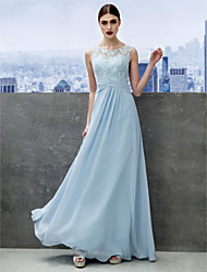 cheap -A-Line Illusion Neck Floor Length Chiffon / Lace Cocktail Party / Prom / Formal Evening Dress with Lace by TS Couture®