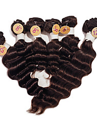 cheap -Brazilian Hair Deep Wave 8A Natural Color Hair Weaves / Hair Bulk Human Hair Weaves Human Hair Extensions