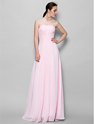 cheap -A-Line Strapless Floor Length Chiffon Bridesmaid Dress with Criss Cross