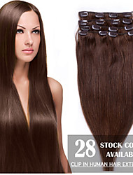 cheap -Febay Clip In Human Hair Extensions Straight Human Hair Human Hair Extensions 1 Bundle Women's Golden Brown / Golden Blonde / Bleached Blonde