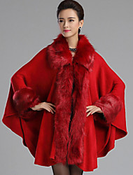 cheap -Women's Daily Vintage Fall Long Fur Coat, Solid Colored Shawl Lapel Long Sleeve Faux Fur / Woolen Cloth Brown / Navy Blue / Red