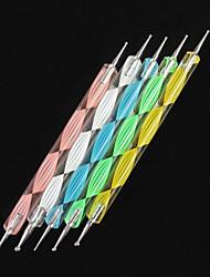 cheap -5pcs nail art dotting colorful waves handle dot tools kits