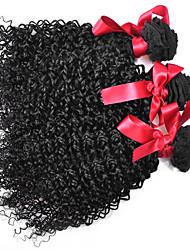 cheap -3 Bundles Brazilian Hair Curly Afro Natural Color Hair Weaves / Hair Bulk Human Hair Weaves Human Hair Extensions / 8A