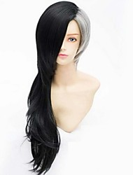 cheap -Cosplay Costume Wig Synthetic Wig Straight kinky Straight kinky straight Straight Asymmetrical Wig Long Rainbow Synthetic Hair Men's Natural Hairline Black Gray