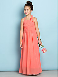 cheap -Sheath / Column Halter Neck Ankle Length Chiffon Junior Bridesmaid Dress with Side Draping / Natural / Mini Me