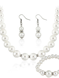 cheap -Women's Pearl Jewelry Set Ladies Pearl Earrings Jewelry White For Wedding Party Daily Casual / Necklace / Bracelets & Bangles