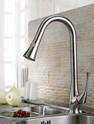 cheap -Contemporary Pull-out/Pull-down Deck Mounted Pullout Spray Ceramic Valve Single Handle One Hole Brushed, Kitchen faucet