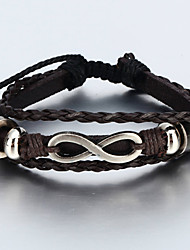 cheap -Wrap Bracelet Vintage Bracelet Leather Bracelet Rope woven Infinity Paracord Bracelet Jewelry Black / Brown For Christmas Gifts Daily