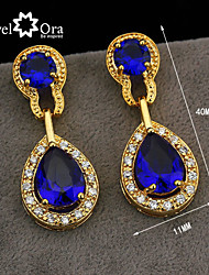 cheap -Wholesale Women Jewelry Drop Earrings Crystal Vivid Blue Cz Amethyst Crystal Earrings