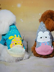 cheap -Cat Dog Sweater Winter Dog Clothes Green Blue Gray Costume Cotton Cartoon Casual / Daily XS S M L XL