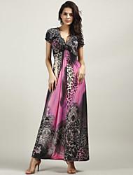 cheap -Women's Boho Beach Boho Maxi Swing Dress - Leopard Flower Ruched Print Deep V Silk Gray Yellow Fuchsia L XL XXL / Loose