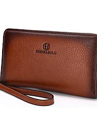 cheap -Men's PU Wallet / Bi-fold Solid Colored Brown / Blue / Khaki