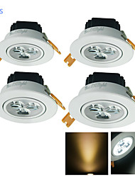 cheap -YouOKLight 4pcs 3 W LED Recessed Lights 300 lm 3 LED Beads High Power LED Decorative Warm White Cold White 220-240 V 110-130 V / 4 pcs / RoHS / 90
