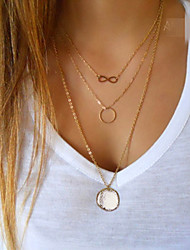 cheap -Women's Layered Necklace Layered Karma Necklace Infinity Circle Ladies Multi Layer Gold Plated Alloy Screen Color Necklace Jewelry For