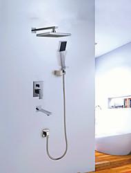 cheap -Shower Set Set - Rainfall Contemporary Chrome Wall Mounted Ceramic Valve Bath Shower Mixer Taps / Brass