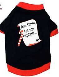 cheap -Cat / Dog Shirt / T-Shirt Dog Clothes Letter & Number Black Cotton Costume For Pets Men's / Women's Christmas