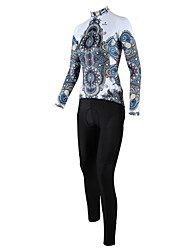 cheap -ILPALADINO Women's Long Sleeve Cycling Jersey with Tights White / Black Plus Size Bike Clothing Suit Windproof Breathable Quick Dry Back Pocket Sports Patterned Mountain Bike MTB Road Bike Cycling