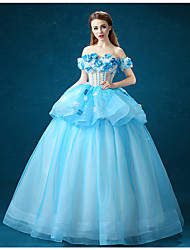 cheap -Ball Gown Formal Evening Dress Off Shoulder Floor Length Organza with Appliques Flower 2020