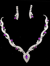 cheap -Crystal Jewelry Set Pendant Necklace Tassel Marquise Cut Heart Love Ladies Party Cubic Zirconia Imitation Diamond Earrings Jewelry Purple For Wedding Masquerade Engagement Party Prom Promise